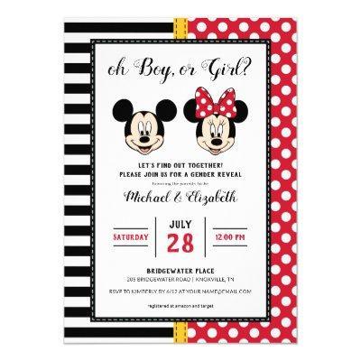 Mickey & Minnie | Boy or Girl - Gender Reveal Invitations