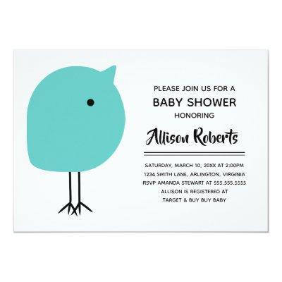 Mid Century Modern Chick Baby Shower Invitations