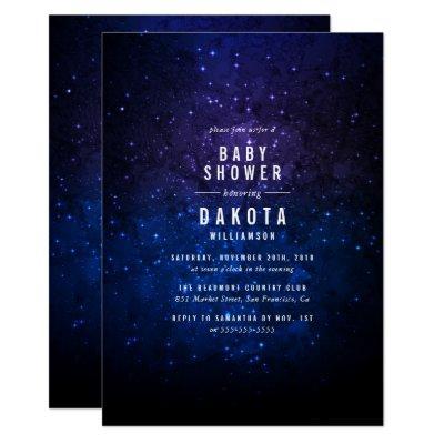 Midnight Sky & Shining Stars   Galaxy Baby Shower Invitation