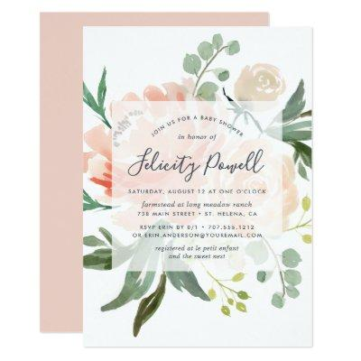 Midsummer Floral Baby Shower Invitations
