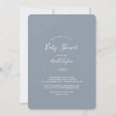 Minimal Leaf | Dusty Blue Baby Shower Invitation