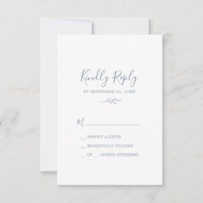 Minimal Leaf | Dusty Blue Simple RSVP Card