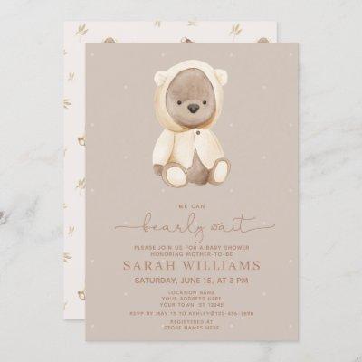 Minimalist Bearly Wait Brown Baby Shower Invitation