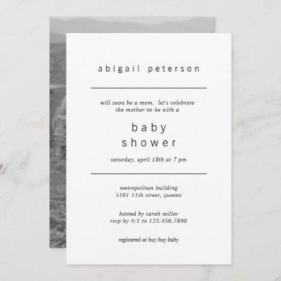 Minimalist Gender Neutral Photo Baby Shower Invitation