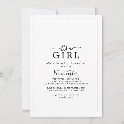 Minimalist It's A Girl Baby Shower Invitation