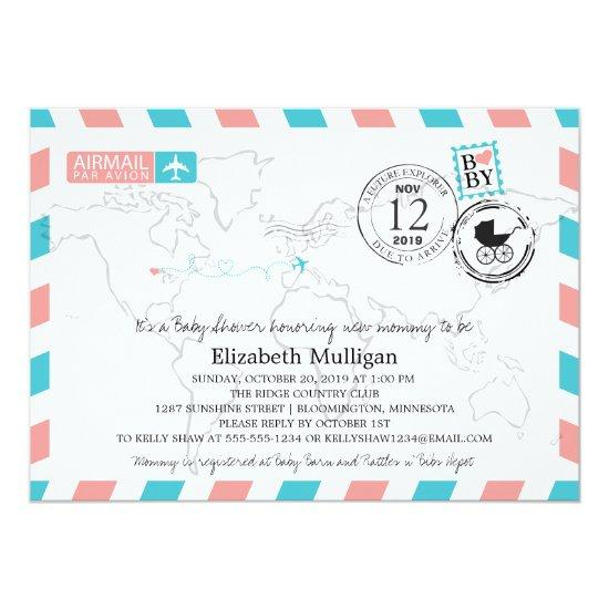 Minnesota to Europe Airmail | Baby Shower Card