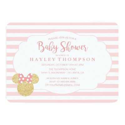 Minnie | Pink Striped Gold Glitter Invitations
