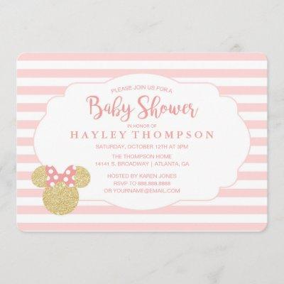 Minnie   Pink Striped Gold Glitter Baby Shower Invitation