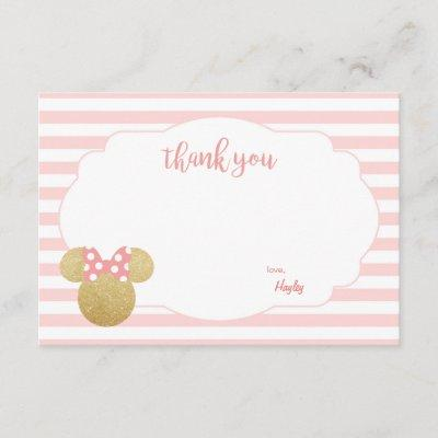 Minnie | Pink Striped Gold Glitter Thank You