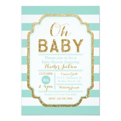 Mint And Gold Baby Shower Invitations, Baby Girl Invitations