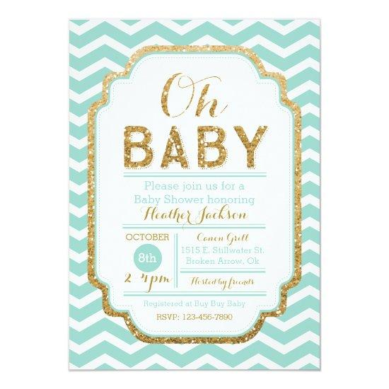 Mint And Gold Baby Shower Invitation Chevron