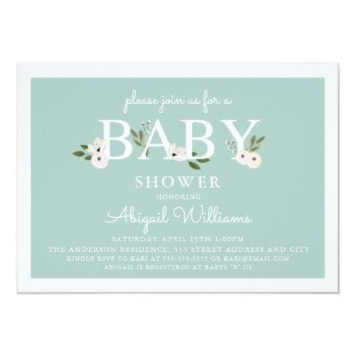 Mint and pink Floral Baby Shower Invitation
