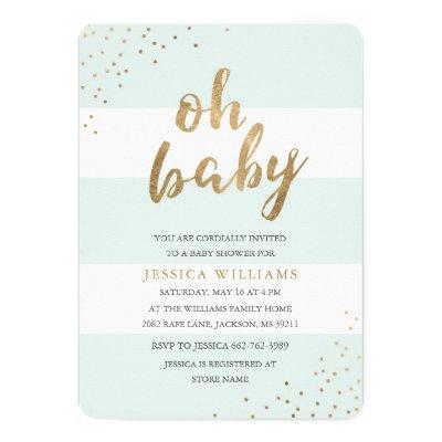 Mint & Gold Stripes Confetti Oh Baby Shower Invite
