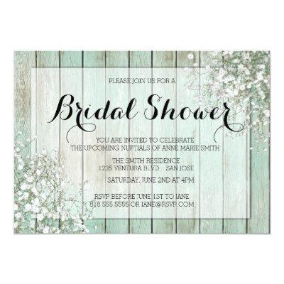 MINT GREEN BABY'S BREATH BRIDAL SHOWER Invitations
