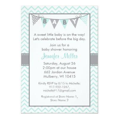 Mint Green Chevron Invitations