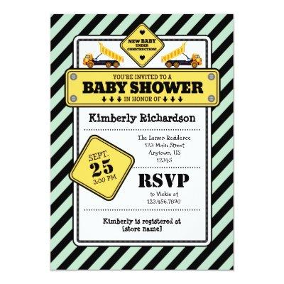 Mint Green Construction Baby Shower Invitation