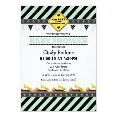 Mint Green Construction Baby Shower Invitations