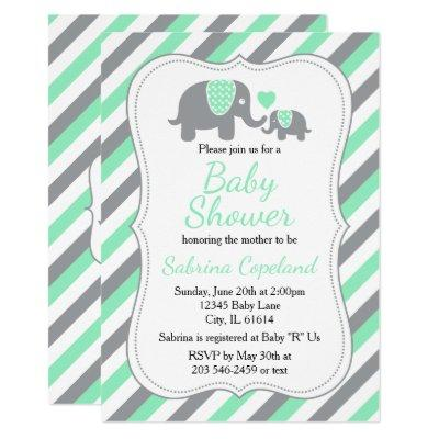 Mint Green & Gray Stripes Elephant | Baby Shower Invitation