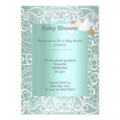 Mint green lace elegant baby shower stork invitation