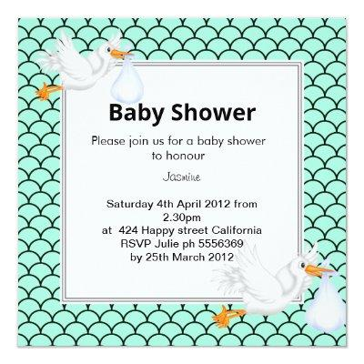 Mint green Mermaid stork baby shower invite