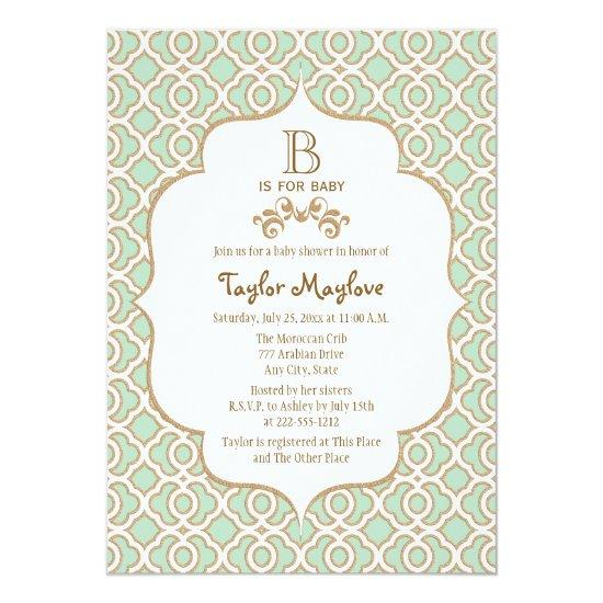 Mint Green Moroccan Gender Neutral Baby Shower Card Baby