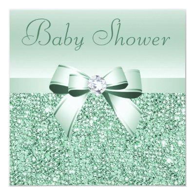 Mint Green Sequins, Bow & Diamond Baby Shower Invitation