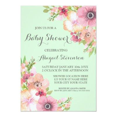 Mint Green Watercolor Flowers Baby Shower Invitations