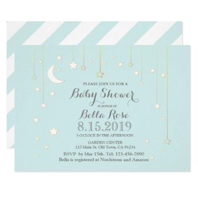 Mint grey star moon baby shower invitations