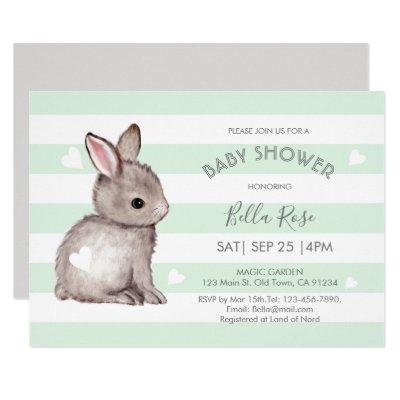 Mint Grey Stripes Bunny Heart Baby Shower Invite