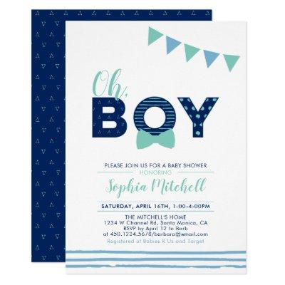Mint & Navy | Modern Typography Boy Baby Shower Invitations