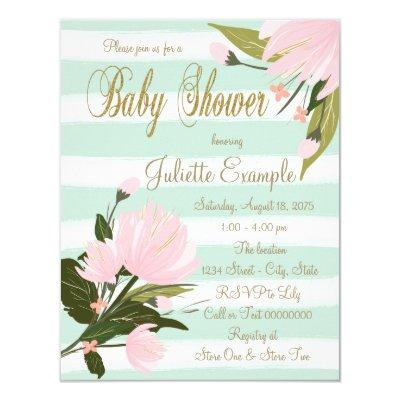Mint Pink Gold Baby Shower Invitations