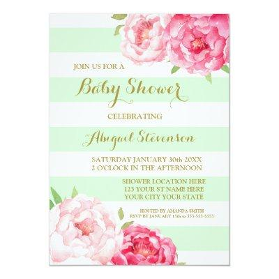 Mint Stripes Pink Watercolor Flowers Baby Shower Invitation