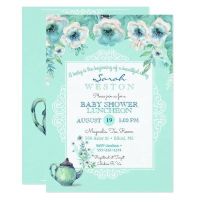 Mint Tea Teapot Watercolor Flowers Invitation