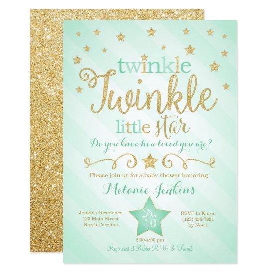 Mint Twinkle Little Star Baby Shower Invitations