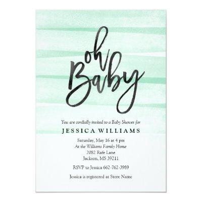 Mint Watercolor Gradient Oh Baby Shower Invitations