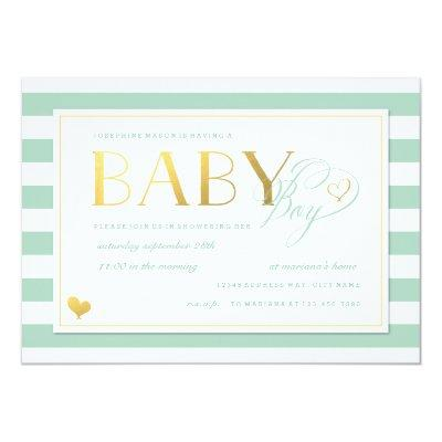 Mint & White Stripe Baby Boy Shower Gold Accents Invitations