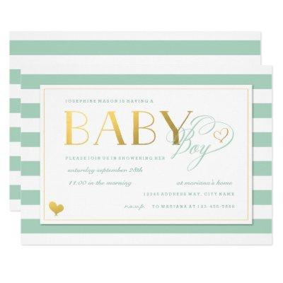 Mint & White Stripe Faux Gold Boy Baby Shower Invitations