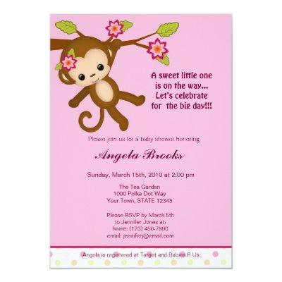 Miss Monkey Invitations Girl