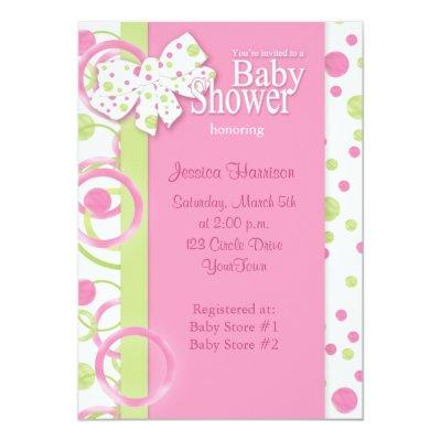Mod Circles Baby Girl Shower Invitations