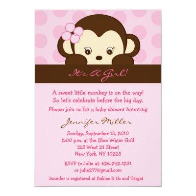 Mod Girl Monkey Dot Custom Invitations