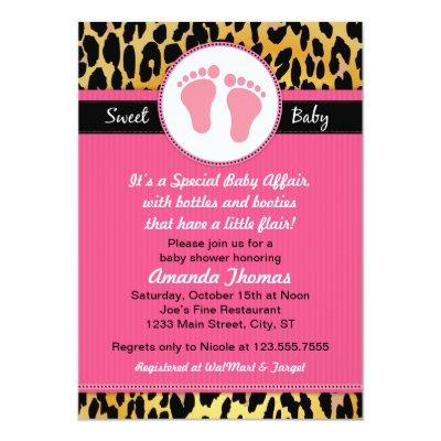 Mod Pink Leopard Baby Shower Invitations
