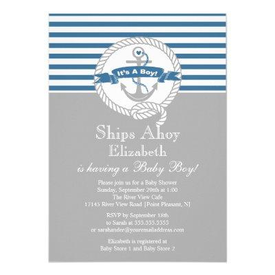 Modern Anchor Nautical Sailboat Boy Invitations