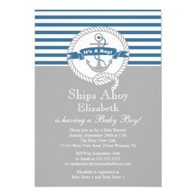Modern Anchor Nautical Sailboat Boy Baby Shower Invitation