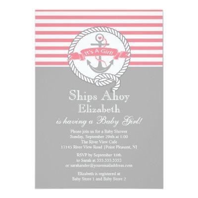Modern Anchor Nautical Sailboat Girl Invitations