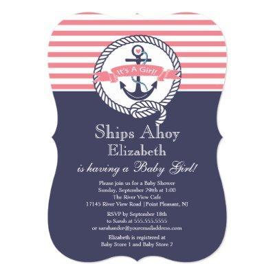 Modern Anchor Nautical Sailboat Girl