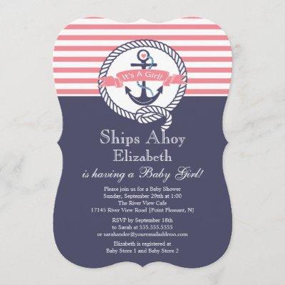 Modern Anchor Nautical Sailboat Girl Baby Shower Invitation