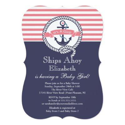 Modern Anchor Nautical Sailboat Girl Baby Shower Invitation