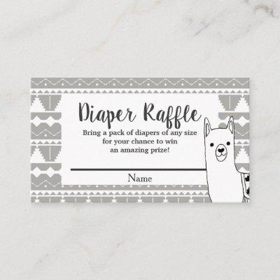 Modern Aztec Gray & White Llama Diaper Raffle Enclosure Card