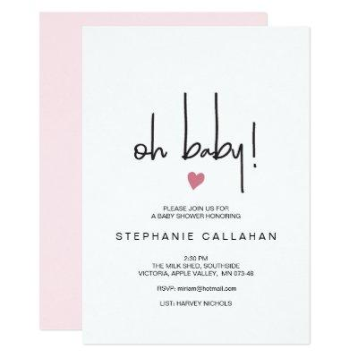 Modern baby girl shower invitation | Pink heart