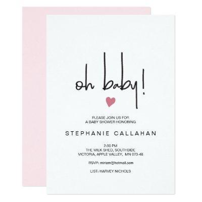 Modern baby girl shower Invitations | Pink heart